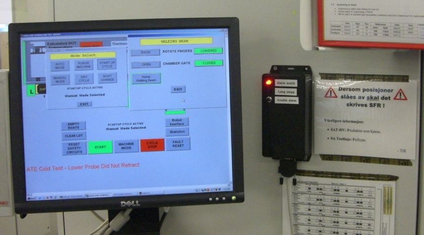 AVR alarm disabling unit for production equipment with long stop warning