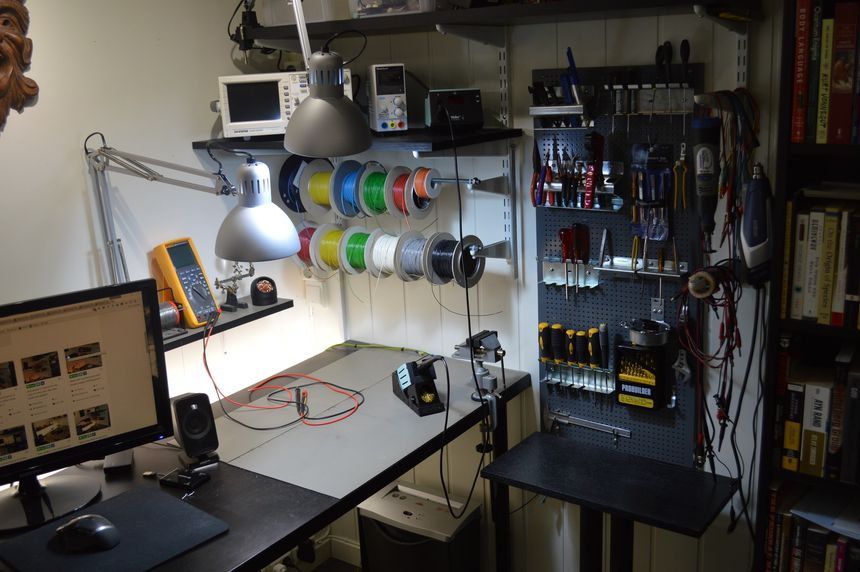 Adding shelves, lights and a soldering station to my electronics workbench