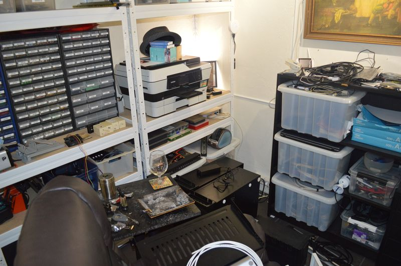 Untidy home office, two rack servers placed temporary