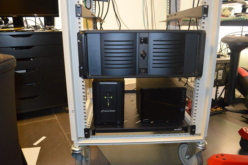 UPS, Synology NAS and server in computer rack