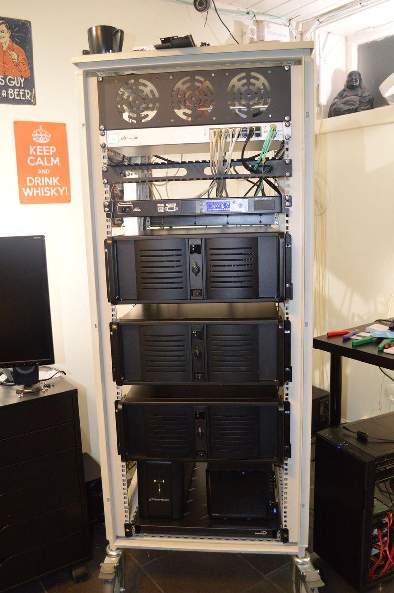 Computer rack with three servers