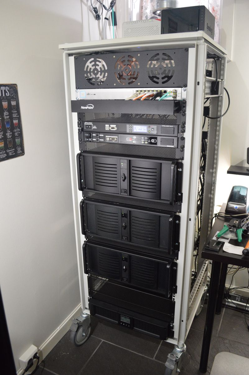 Homelab rack, front view, ATS, PDU, three servers and UPS