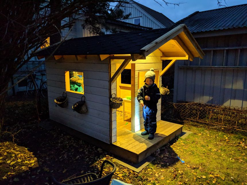 I made a garden playhouse for the kids — with LED lights