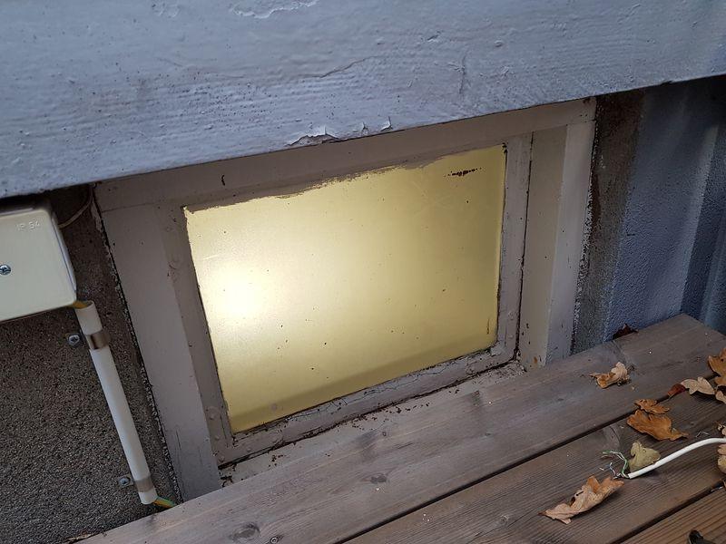 Basement window, seen from outside