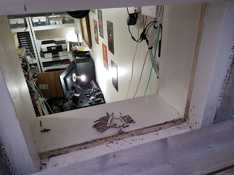 Basement window removed, looking into home office